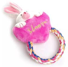 Heart to Heart - Pink bunny with rope