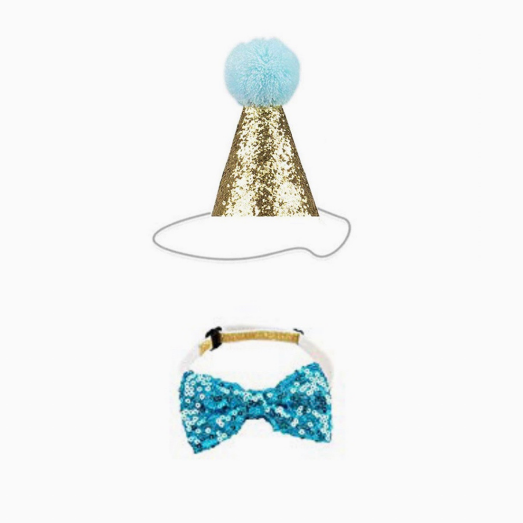 Blue Glitter Party Hat & Bow Tie - For Dogs