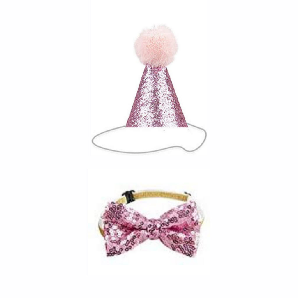 Pink Glitter Party Hat & Bow Tie - For Dogs